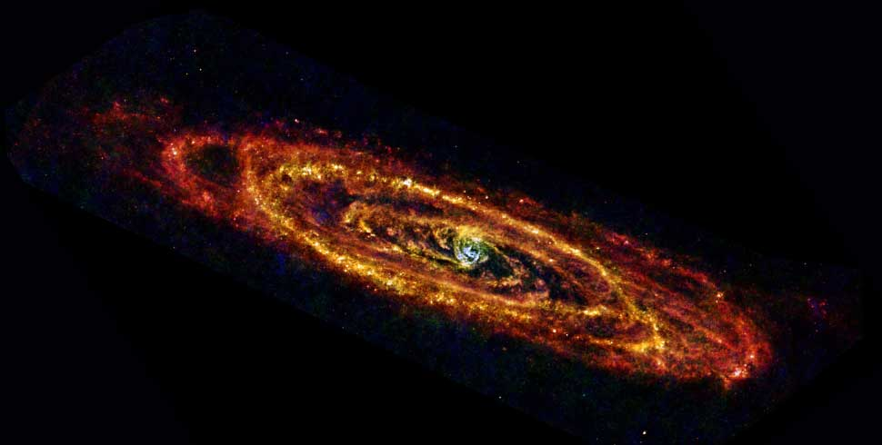 Cool Andromeda. Photo ESA/Herschel/PACS & SPIRE Consortium, O. Krause, HSC, H. Linz.
